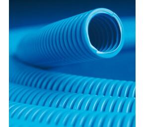 ДКС Труба ППЛ гибкая гофр. д.25мм, тяжёлая с протяжкой, 50м, цвет синий